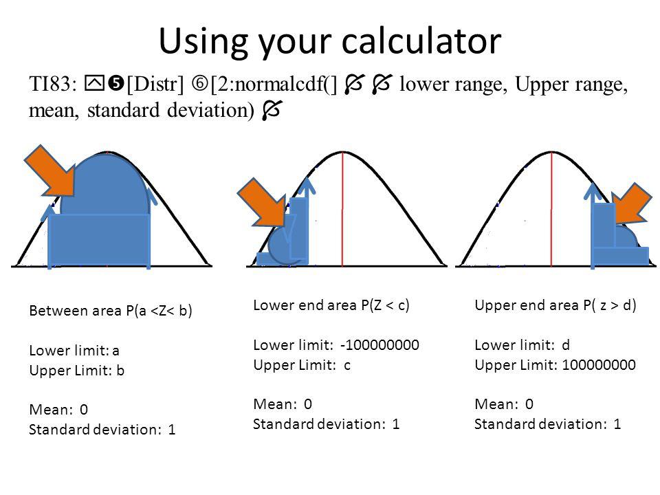 Using your calculator TI83: [Distr] [2:normalcdf(]   lower range, Upper range, mean, standard deviation) 